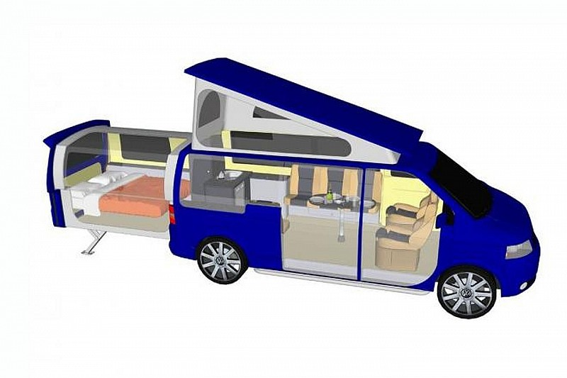 VW Transporter campervan with electrically extendable rear pod launches [video]